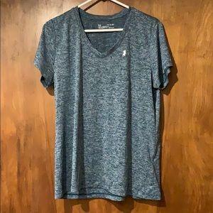 Blue and white speckled v neck workout shirt